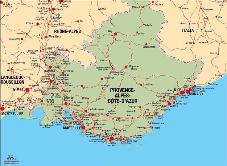 Provence-Alpes-Cote-d'Azur - Carte vectorielle,Plan de ville, fonds de cartes,cartographie illustrator, eps, psd, BC MAPS