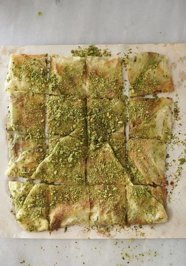 """""""KATMER"""" with PISTACHIOS & CLOTTED CREAM ~~~ this recipe is shared with us from the book, """"anatolia"""". katmer aka kattama aka katlama aka gambir is a sweet or savory fried layered bread served plain or filled. gaziantep-style katmer is a sweet pastry filled with both clotted cream and pistachios; this post's link is a riff on that which is traditional by going for a bake using filo. [Somer Sivrioglu] [Turkey, Gaziantep] [dish.co.nz] [filo, jufka, yufka, phyllo, fillo]"""