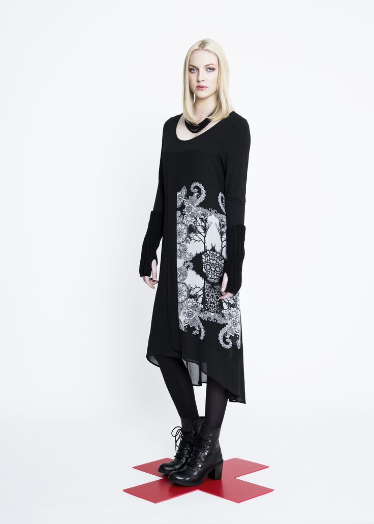 Skull Crossover Dress, Hand Knitted Wool Gloves