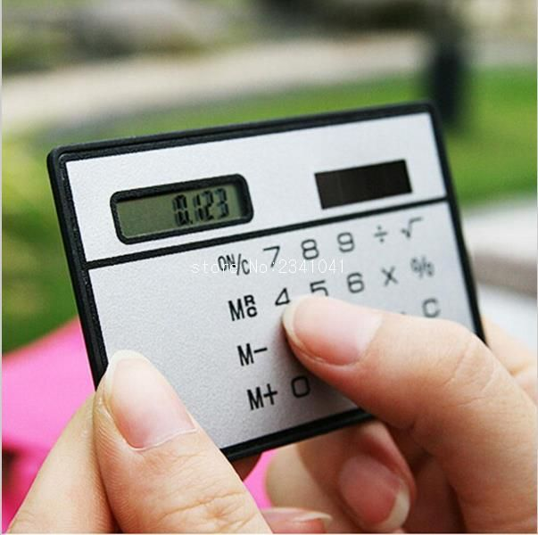 [Visit to Buy] 1PC Mini Solar Calculator Function Credit Card Calculadora Pocket Calculator Novelty Small Slim Man Woman Gifts #Advertisement