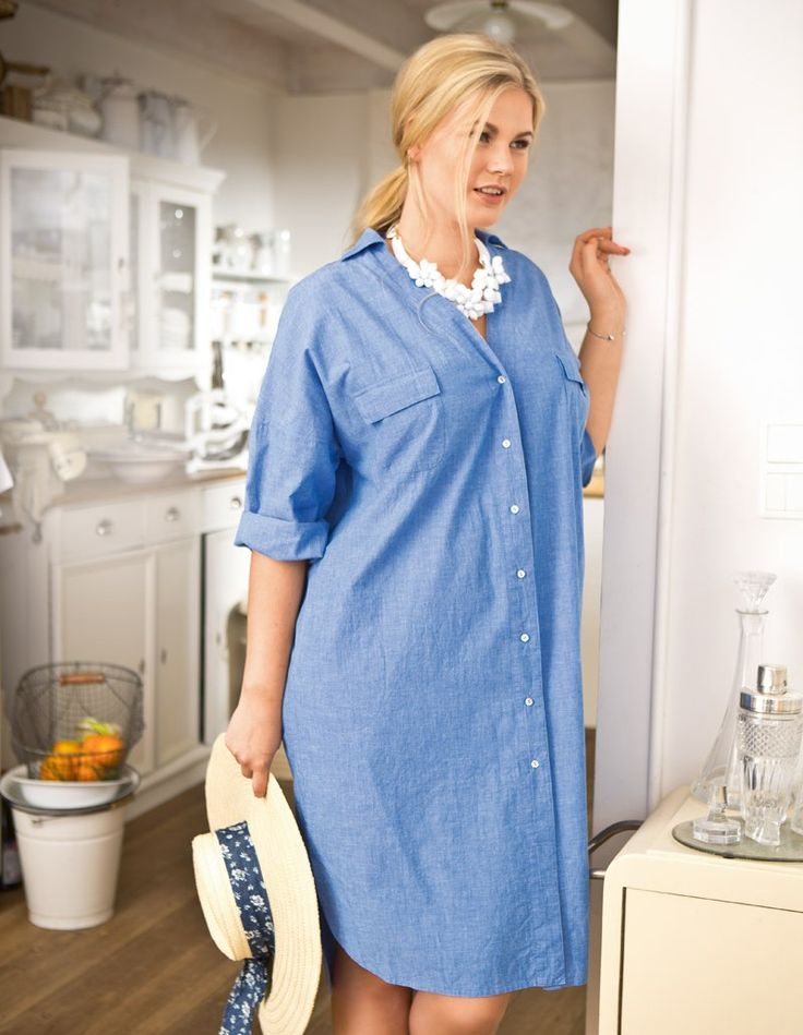 Льняное домашнее платье-рубашка для полных