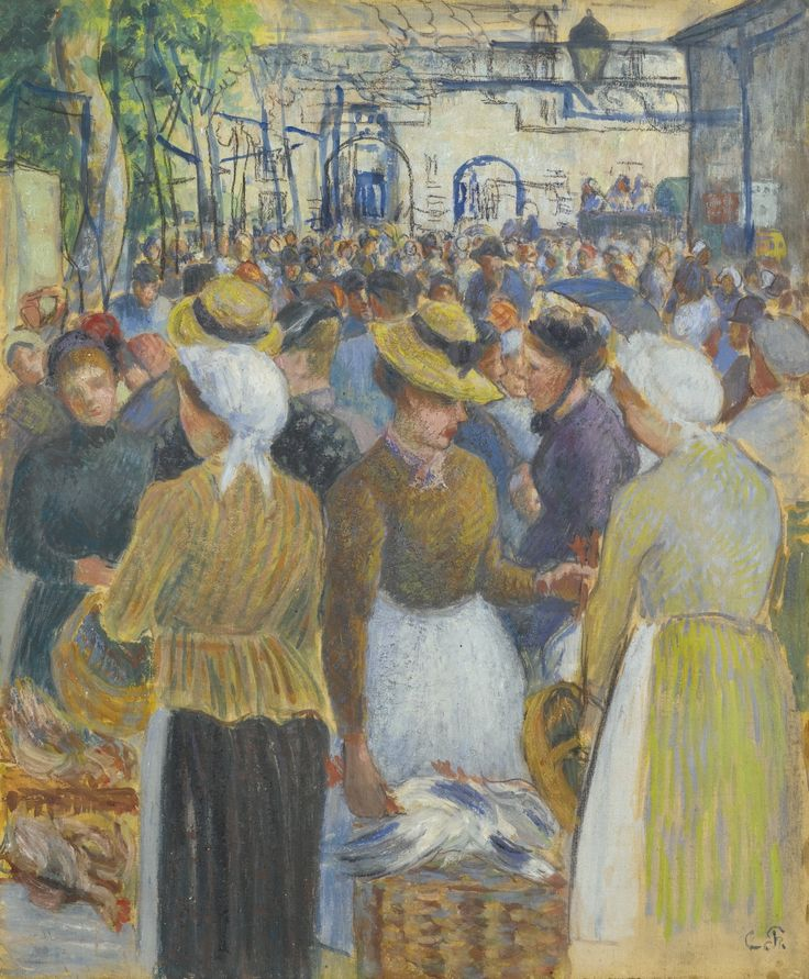 MARCHÉ À LA VOLAILLE À GISORS - Camille Pissarro, 1890. Sotheby's London Impressionist Sale from a private Swiss collection.