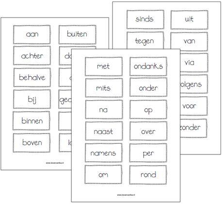 Voorzetselkaartjes. Kun je op meerdere manieren gebruiken. Bijvoorbeeld een een doos doen en om de beurt een kaartje laten trekken. Dan een zin maken met het woord op het kaartje.