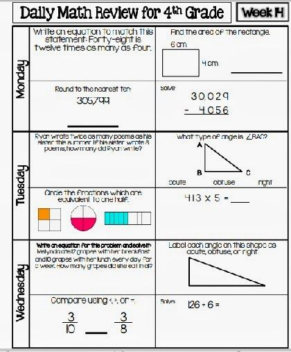 4th grade daily math review worksheets