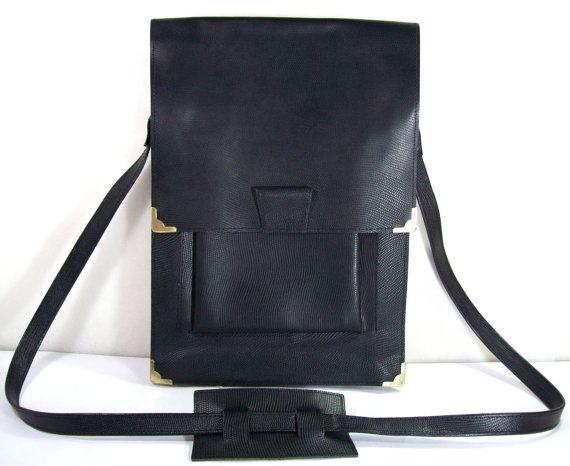 Black Leather BagVintage Leather Messenger by RetroVintagePlanet