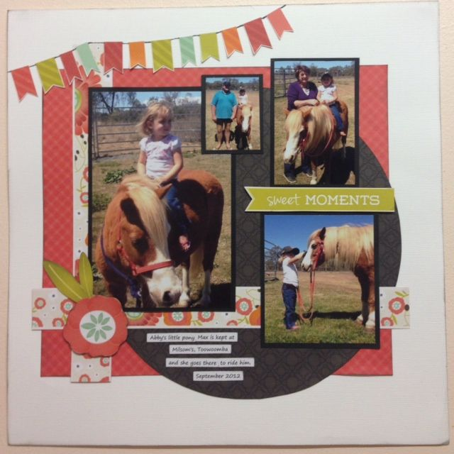 Julie D's entry. Julie's granddaughter looks like a natural perched up on the pony. Julie has drawn her inspiration from the colours featured in the moodboard.