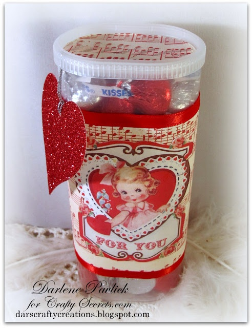 Dar's Crafty Creations: Crafty Secrets Valentine...made with crystal light container