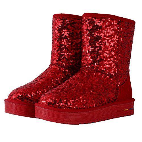 iBaste Dame Frauen Winter Mode rutschfeste Schneestiefel Stifel Snow Boots Lerder warm Halbstiefel Überschuhe Mädchen Schuhe Flache Boots Stiefel stiefeletten Genric