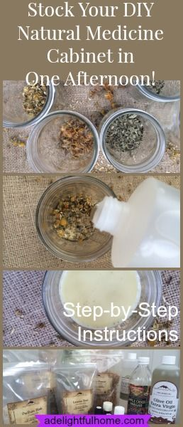 How to stock your natural medicine cabinet in one afternoon! Step-by-step instructions. #healthyliving #wellness #diy #herbs #esentialoils #natural #homemade #remedies