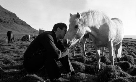 Bobby Fischer with horse, Iceland, 1972.