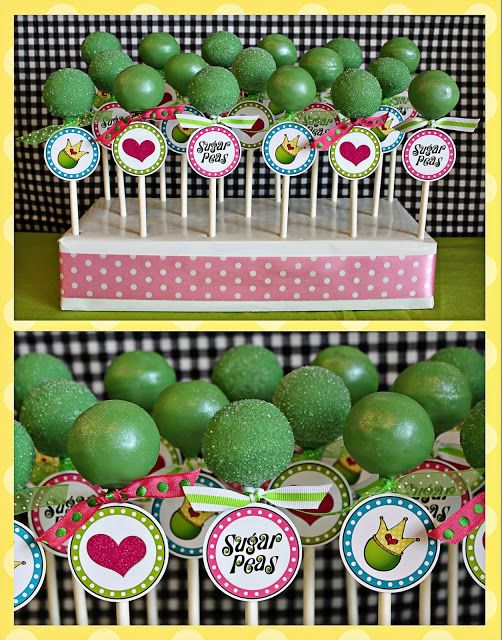 SugarPeas- cake pops for princess and the pea birthday party