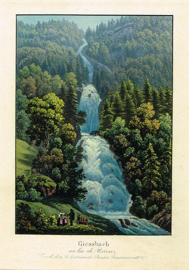 Giessbach au lac de Brienz - Zurich chez R Dikenmañ, peintre Rindermarkt N°353 - Aquatinte XIXème - MAS Estampes Anciennes - MAS Antique Prints