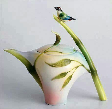 Franz Porcelain Bamboo Song Bird Design Teapot. This is amazing.