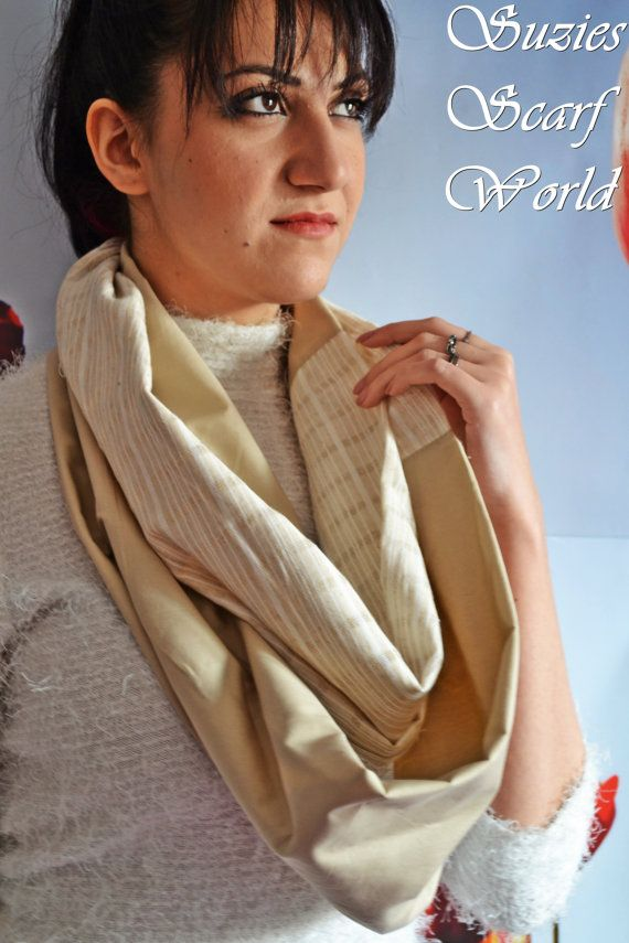 Long Scarf Beige Scarf Double Wrap Fashion by SuziesScarfWorld, €20.00