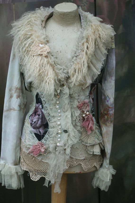 RESERVED-- Winterscape  jacket - ornate bohemian romantic  jacket,  altered couture, embroidered and beaded details