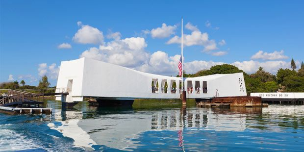 USS Arizona Memorial - The most visited attraction in Hawaii is this somber memorial to commemorate those who lost their lives during the attack on Pearl Harbor.  The USS Arizona Memorial is built over the remains of the sunken battleship Arizona, where most of the 1,177-member crew died on December 7, 1941.