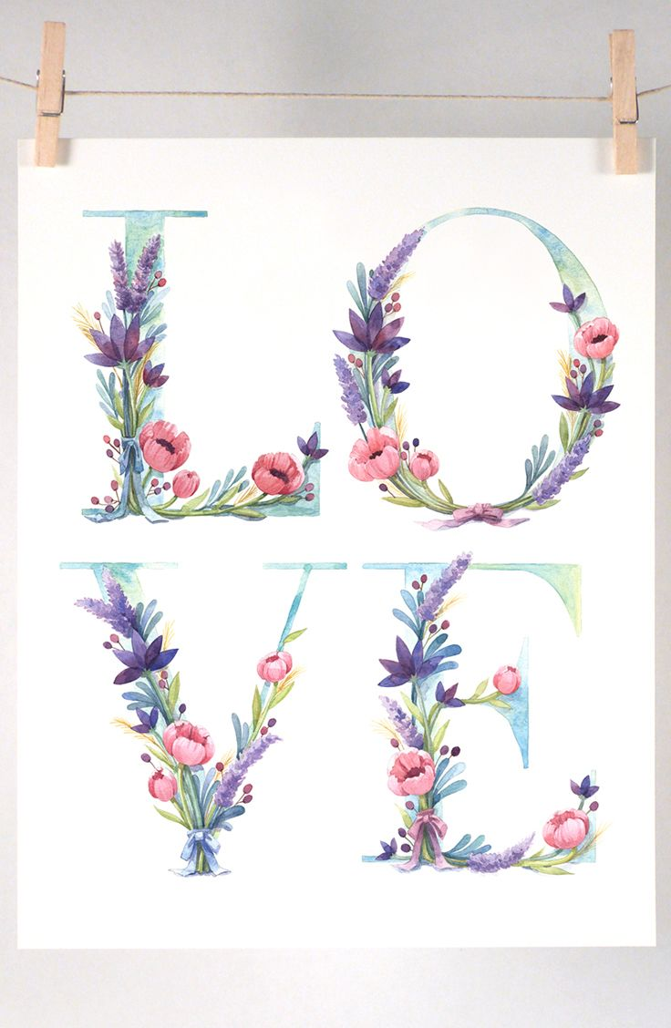 Watercolor Floral Love Lettering Art Print by Four Wet Feet