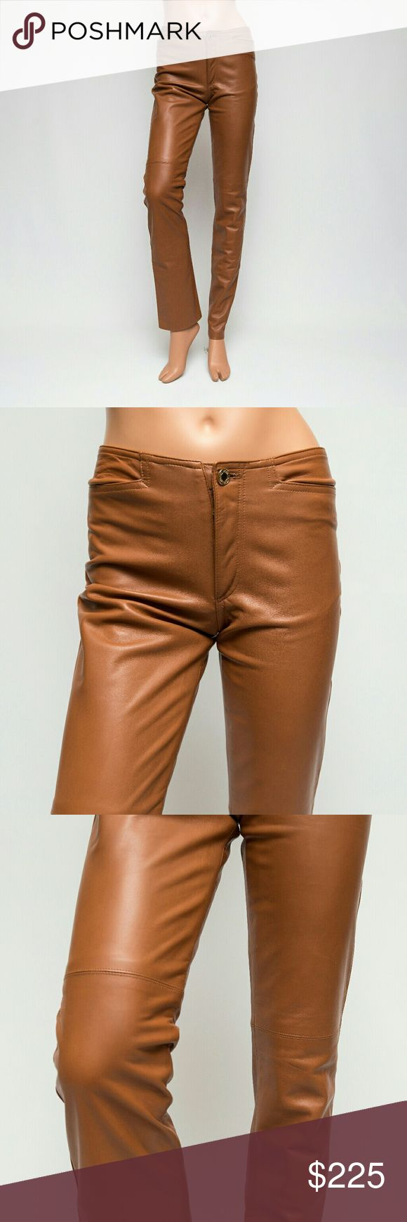 Ralph Lauren Black Label 2x33 Lamb Leather Pants I have for sale a gorgeous pair of chestnut brown lamb leather pants by Ralph Lauren, from the Black Label Collection. They are a size 2. It's advisable, in my opinion, to size up when you buy leather pants since leather doesn't have as much stretch as denim. They look quite fabulous, are completely lined, and have a few faint scratches here and there and a very faint and small spot on one of the legs at the bottom. I had to hunt to find these…