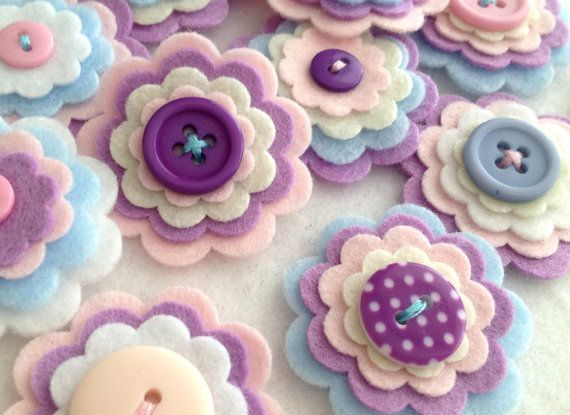 x3 Handmade Layered Felt Flower LAVENDER by MagentaGingerCrafts