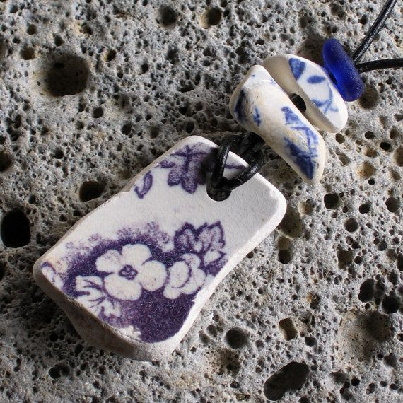 Large Sea Beach Pottery Pendant Necklace Purple by TidelineDesigns