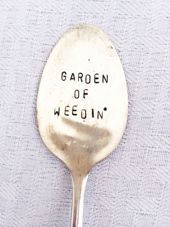 Hand Stamped Garden Marker Rustic Garden by SweetThymeDesign $12  Hand Stamped Garden Marker, Rustic Garden Accessory, Upcycled flatware, Gardener Gift, Funny Gift for Friend, vintage gifts