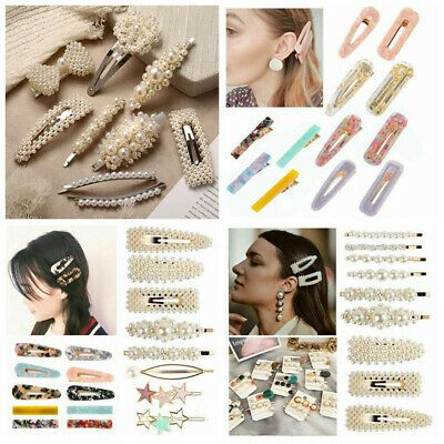 Details zu New 2019 Damen Haarspangen Set Perlhaarspange Haripins Gold Headwear Comb Bobby