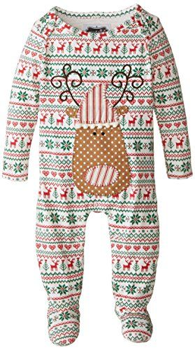 Fair isle print Layered reindeer applique Inner leg snap closure Mud Pie Baby-Boys Newborn Reindeer Sleeper, Multi, 3-6 Months