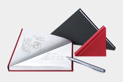 We're officially obsessed with this triangular notebook by Tan Mavitan.
