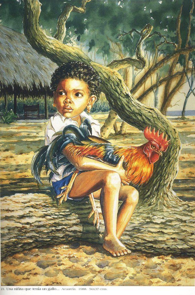 Germán Vieco Betancur Una niñita que tenía un gallo. Acuarela. 56 x 37 cms. 1988