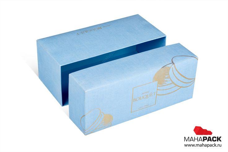 Брендированная коробка крышка-дно для цветов и пирожных под заказ