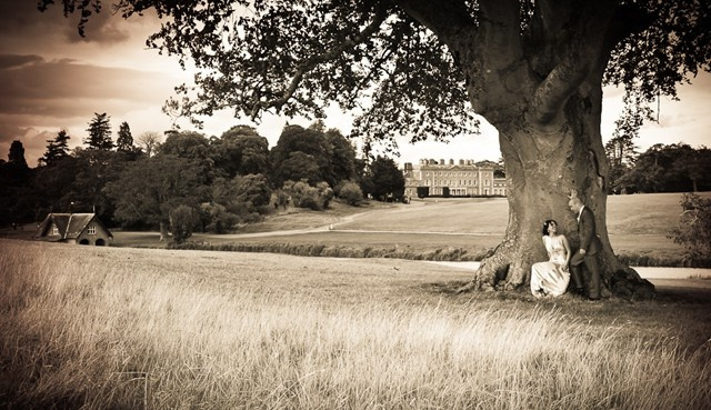 Carton House. I like documentary style photography most but I'm also happy to stage shots too. When I drove past this tree and saw the house in the background I knew it had the makings of a great photo. The bride's pose is all her own idea.