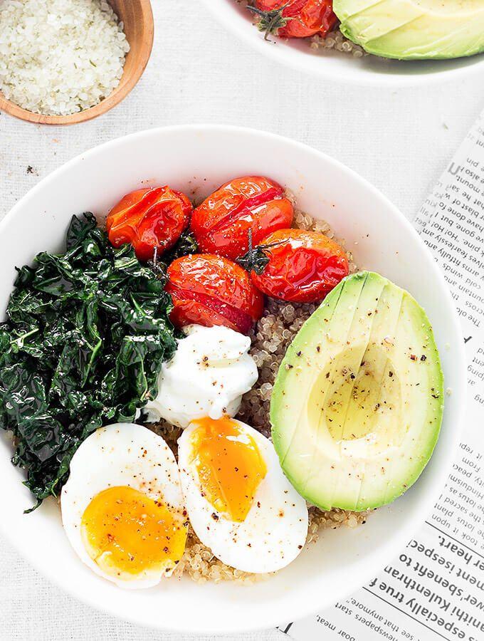 Savory Quinoa Breakfast Bowls - A hearty breakfast bowl great for breakfast, brunch, or even dinner!