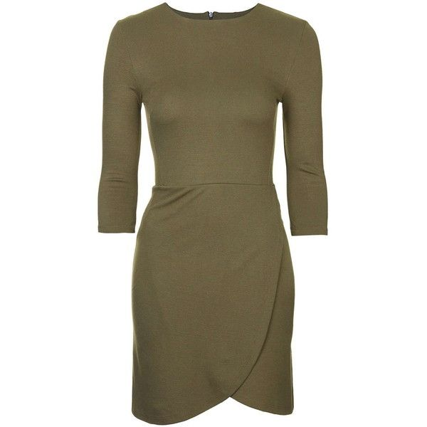 TOPSHOP Wrap Front Bodycon Dress (2,055 DOP) ❤ liked on Polyvore featuring dresses, khaki, body con dress, wrap front dress, leather dress, form fitting dresses and brown bodycon dress