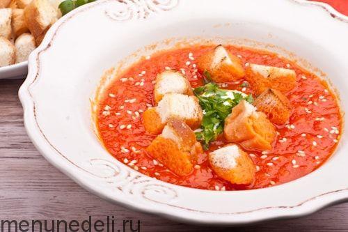 Рецепт супа-пюре из сладкого перца и томатов / Меню недели