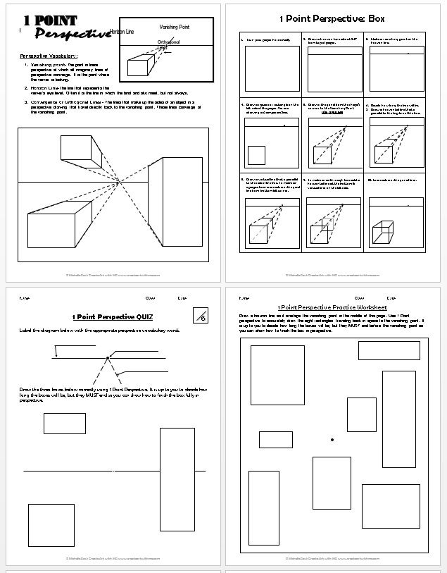 1 Point Perspective Lesson Plan 1 Boxes In 2019 Art