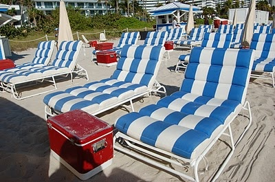 Soho beach house hotel Miami.  Stripes, blue and white with hits of red.