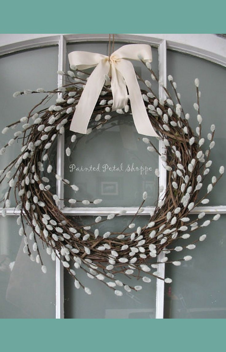 Faux Pussy Willow Wreath | Spring Decor for Front Door | Easter Decorations  | Neutral Farmhouse