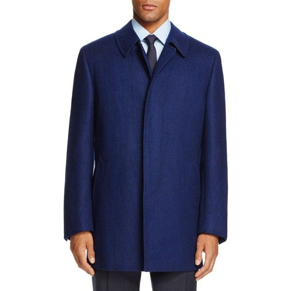 Canali Herringbone Car Coat (£1,485) ❤ liked on Polyvore featuring men's  fashion,
