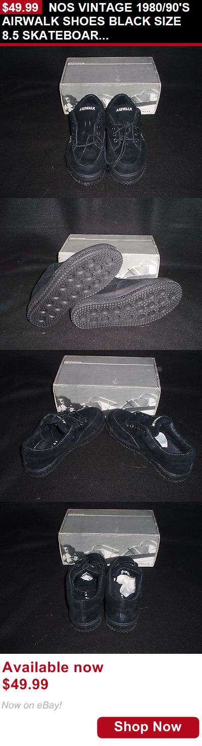 Men vintage clothing and shoes: Nos Vintage 1980/90S Airwalk Shoes Black Size 8.5 Skateboard Bmx Shoes BUY IT NOW ONLY: $49.99