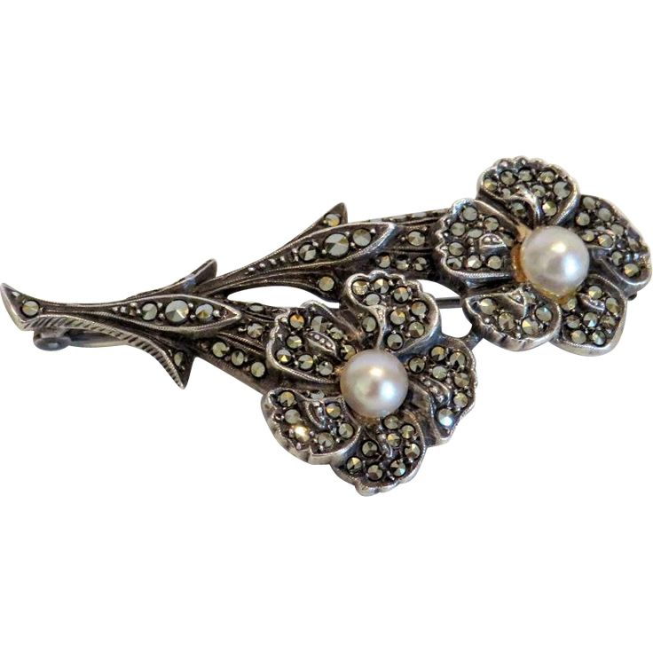 Antique flower brooch with Marcasites, late 19th century : Akaham | Ruby Lane