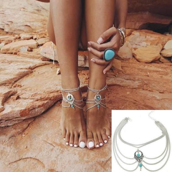 Beads Tassel Chain Anklet Barefoot Sandals Foot Jewelry!  anklets|anklets diy|anklets boho|anklets indian|anklets tattoo| anklets summer|anklets beachy|anklets gold|anklets silver| anklets simple|anklets braided