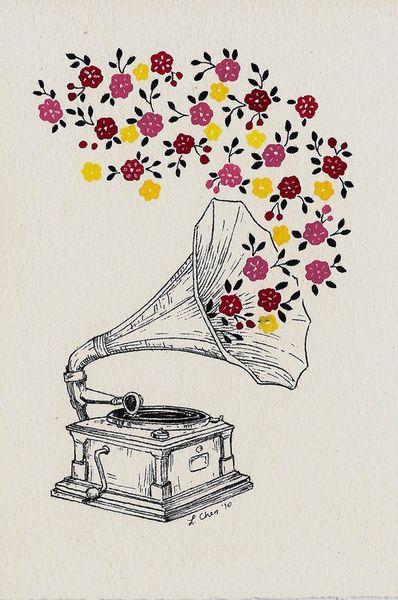 colours draw old white flowers music colorful love drawing phonograph colourful illustration flower color art vintage rainbow colors colour monochrome black - picslist.com