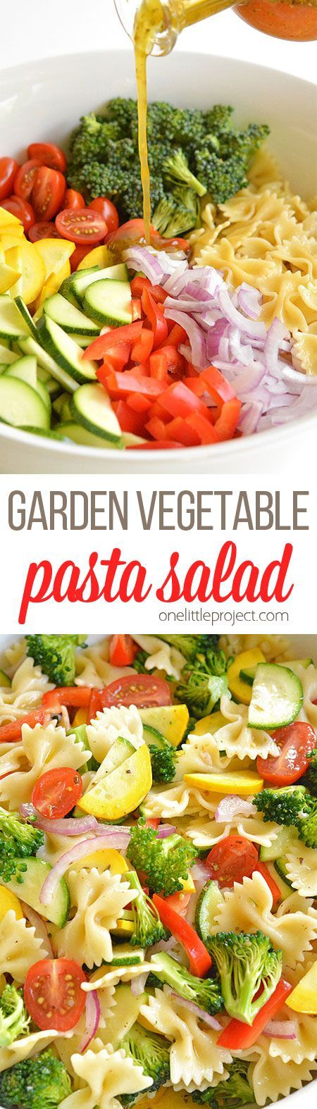 This garden vegetable pasta salad recipe is sooooooooo good! It uses all fresh, summer ingredients that combine to give it the most amazing flavour! It's loaded with almost all the colours of the rain