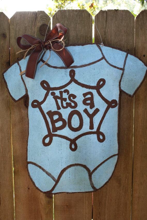 Boy onesie burlap door hanger