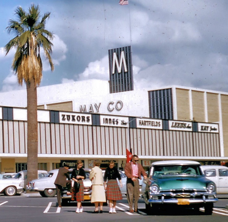 Shoppers at Eastland Shopping Center, West Covina, California - March 1958. I remember them removing the cows, tearing down the farmhouse and the orange trees to make the mall.