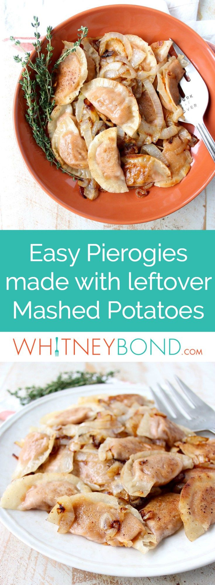 In this easy pierogies recipe, wonton wrappers are filled with leftover mashed potatoes, then pan seared with caramelized onions for a delicious meal!