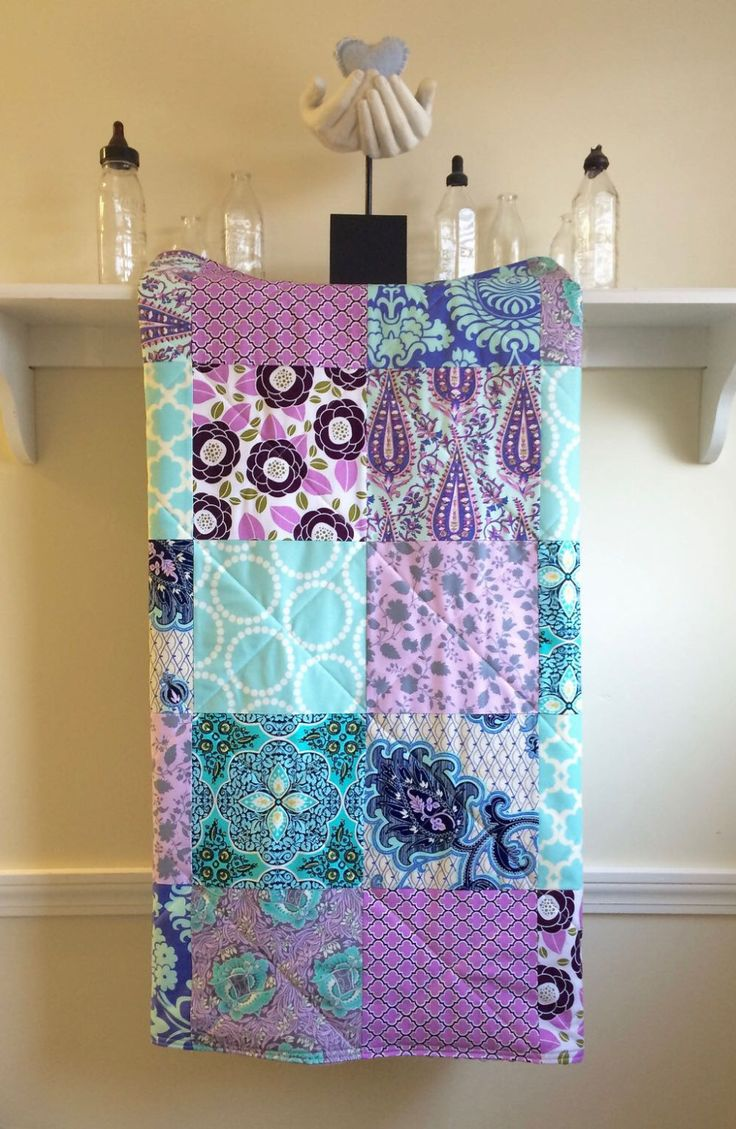 Modern Baby Girl Quilt - Lavender and Aqua - Patchwork, Baby Girl Quilt, Homemade, Minky Back, Teal, Purple, Grey, Turquoise,Nursery Bedding by FernLeslieBaby on Etsy https://www.etsy.com/listing/287569265/modern-baby-girl-quilt-lavender-and-aqua