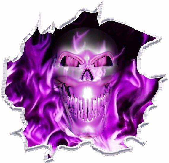 Flaming skull go kart race car vinyl graphic decal half wrap