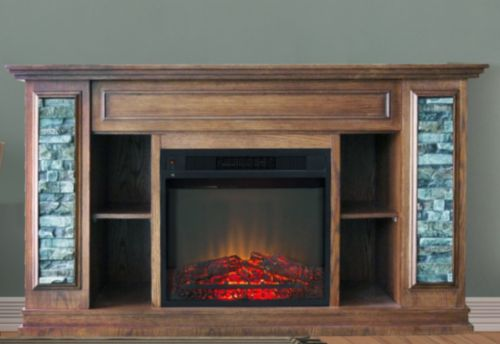 Electric-Fireplace-TV-Stand-Mantel-Faux-Stone-Remote-Media-Center-Hidden-Shelves
