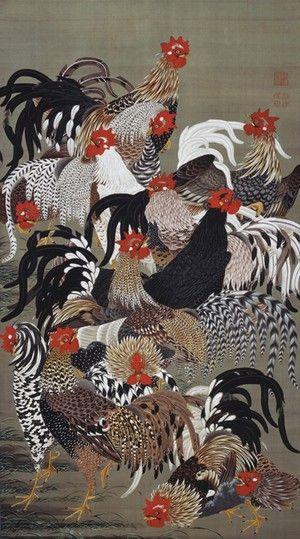 伊藤若冲  _ I have his book...myfavorite chicken art!  This is a eye catching piece!